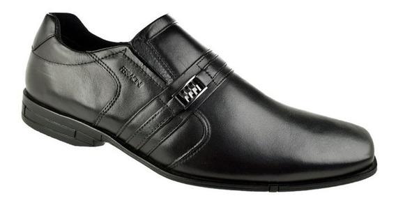 Sapato Ferracini Preto Couro Casual Liso 3167 Bristol