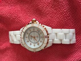 Relógio Cravejado Chanel J12 Cerâmica Quartz Swarovski Branc