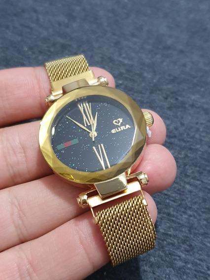 Relógio Feminino Dourado Pulseira Imã Novidade Moda 2019 Top