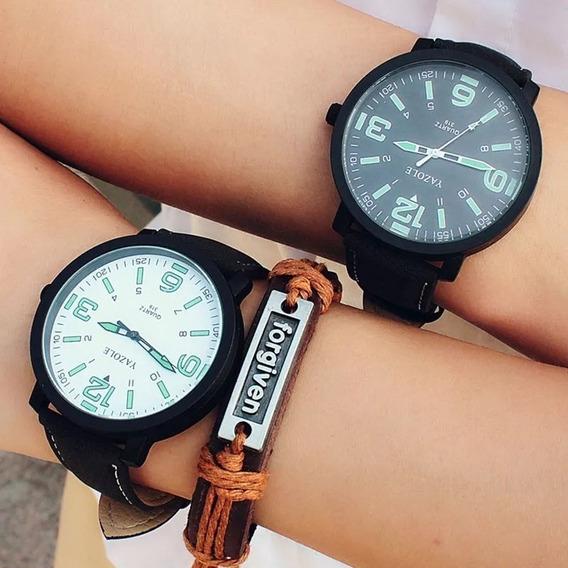 Relógio Quartz Masculino Feminino Pulseira Couro Luminoso