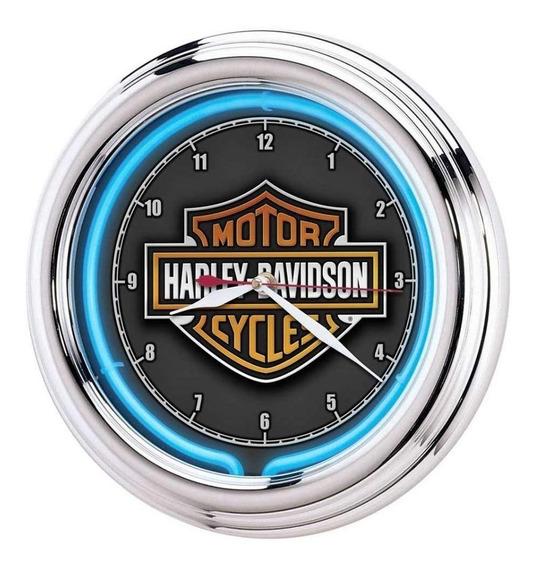 Harley-davidson Bar & Shield Naranja Led Pared Reloj 30 Cms