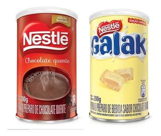 2 Achocolatado 200g: Chocolate Quente Classic + Galak Branco