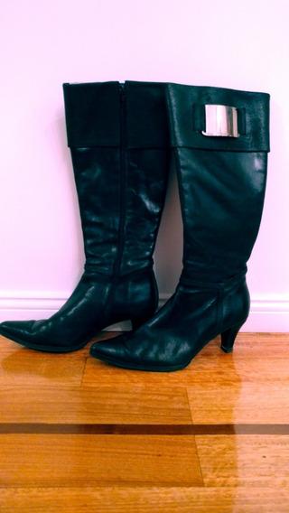 Botas Negras De Cuero Caña Alta Mujer - Marca Blaque