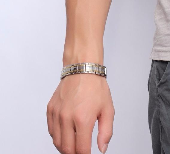 Pulseira Magnetica Masculina Banhada Ouro E Prata Ajustavel