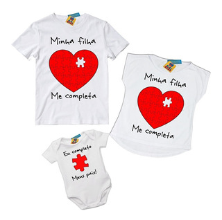 Kit 3 Camisetas Tal Pai Mãe E Filha Minha Filha Me Completa