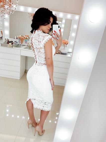 Vestido Branco Off White Noivado Casamento Civil