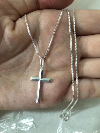 Corrente 60cm C/ Pingente Crucifixo Prata Maciça 925