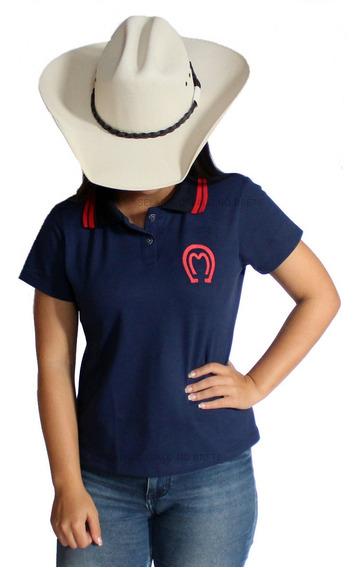 Camisa Feminina Mangalarga Blusa Bordada Modelo Polo
