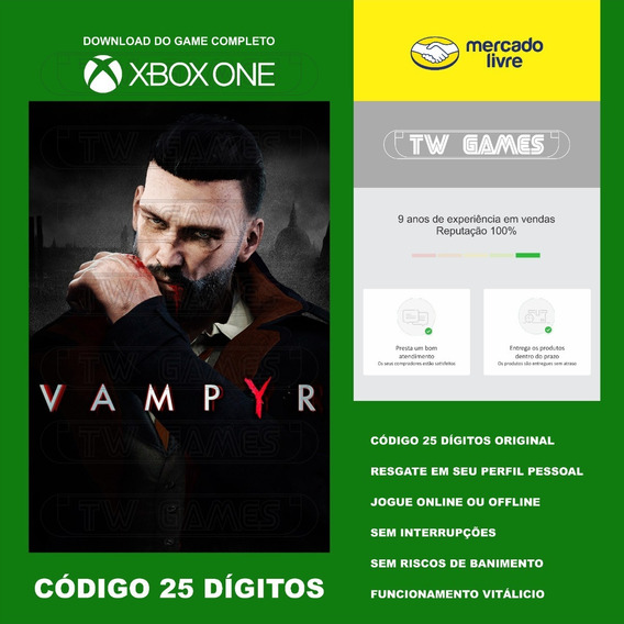 Vampyr Codigo 25 Digitos Original Xbox One Fat S X