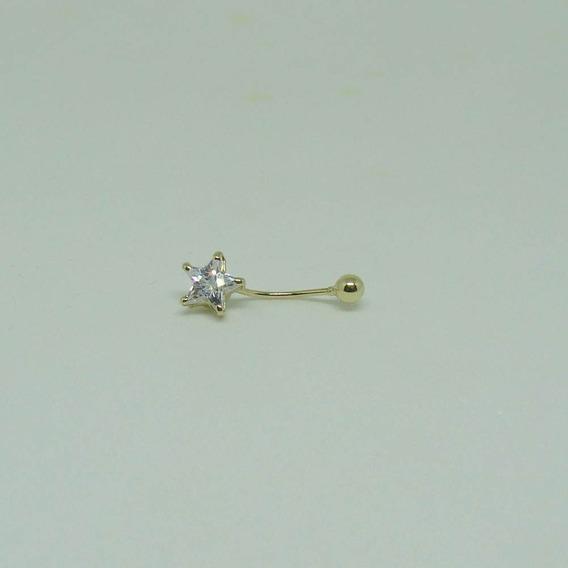 Piercing De Umbigo De Ouro 18k Estrela Com Zircônia