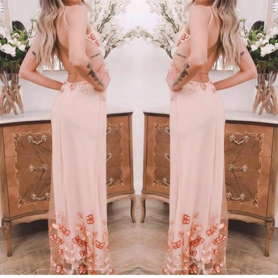 Vestido Bordado Mariposas Espalda Descubierta Moda Pasion