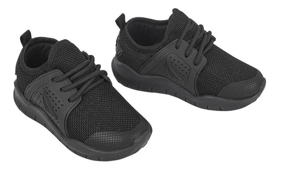 Zapato Tenis Niño Monocolor Negro Tipo Deportivo Con Agujeta