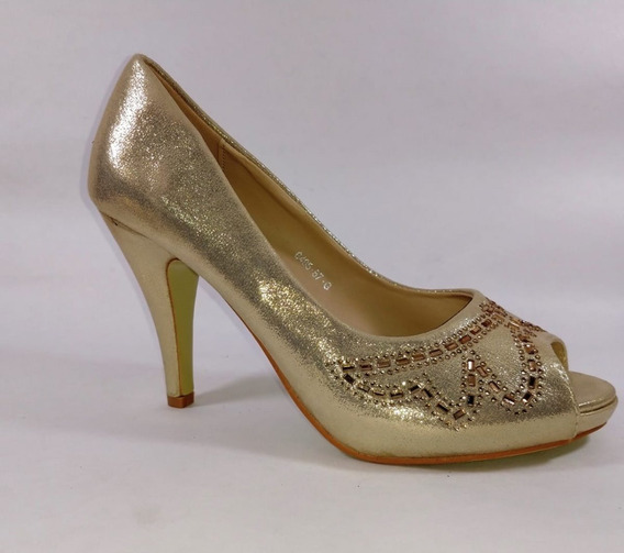 Zapato Dorado Boquita De Pez Con Canutillos