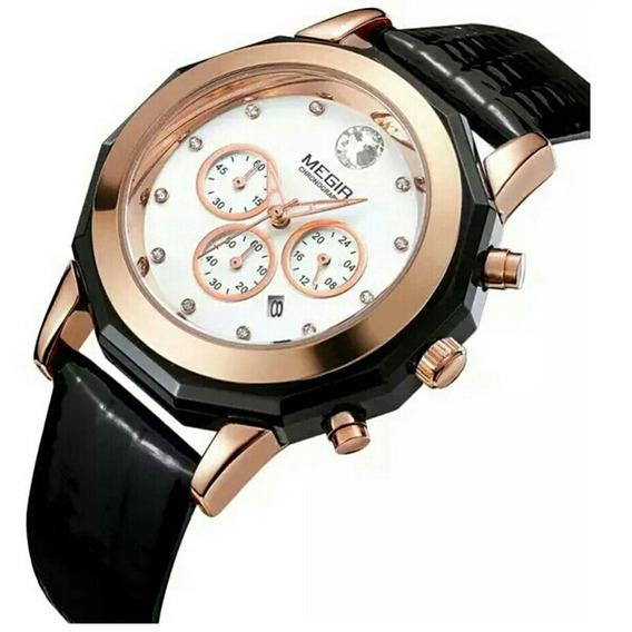 Relógio Feminino Megir 2042 Luxo Original Elegância Nobreza
