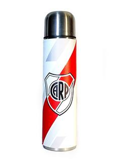 Termo Acero Inoxidable 1 Litro Forrado En Cuero River Plate