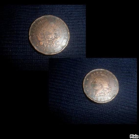 Moneda Argentina De 1889 De Dos Centavos