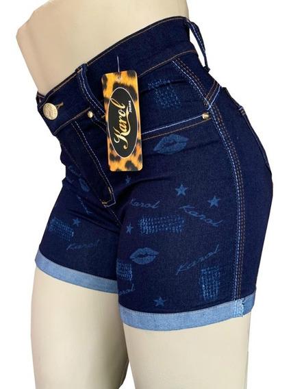 Shorts Jeans Feminino Cintura Alta Com Lycra Kit Com 2