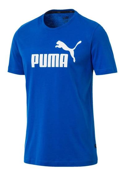 Puma Remera M/corta Running Hombre Essentials Azul