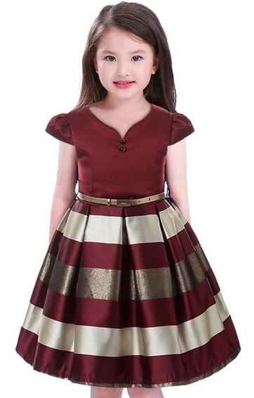 Vestido Infantil De Festa Meninas Vermelho 06 08 10 12 Anos