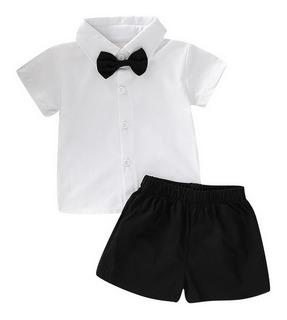 Conjunto Formal Para Beb?, Camisa C/corbata De Mo?o Y Short