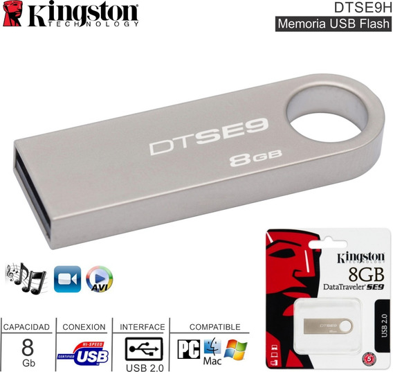 Pendrive Metálico Plata 8gb Kingston Dtse9 Dtse9h/16gbz