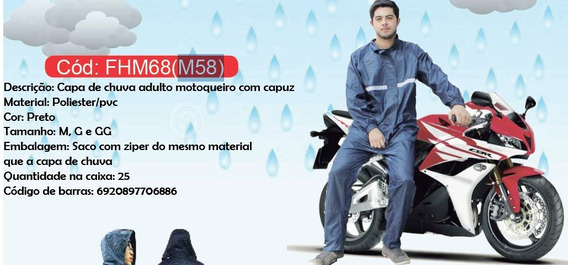 Kit Capa Chuva + Galocha + Touca De Motoqueiro Moto