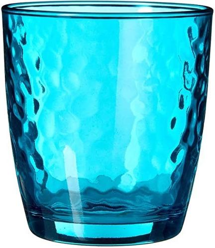 Imagen 1 de 4 de Juego Vasos Vidrio Palatina Azul 320ml Bormioli 6 Pzs