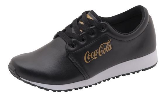 Tenis Coca Cola Caminhada Corrida Urbano Preto Branco 34 39