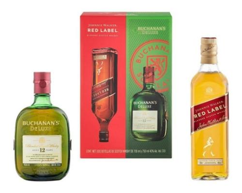Imagen 1 de 5 de Whisky Johnnie Walker Red Label 700 Ml + 1 Buchanan's 750 Ml
