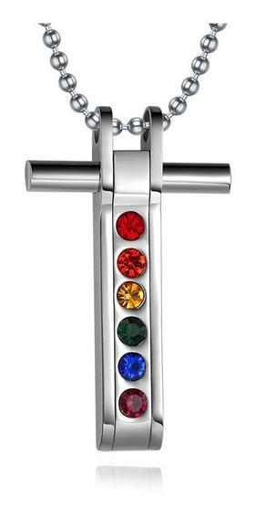 Dije Cruz Moderna De Acero Inoxidable 316 L Modelo Arcoiris