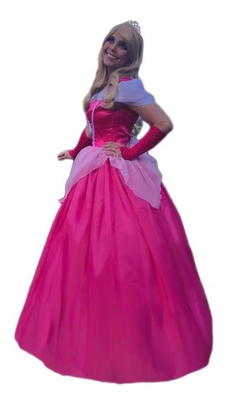 Vestido Da Princesa Bela Adormecida Aurora Adulto Com Luva