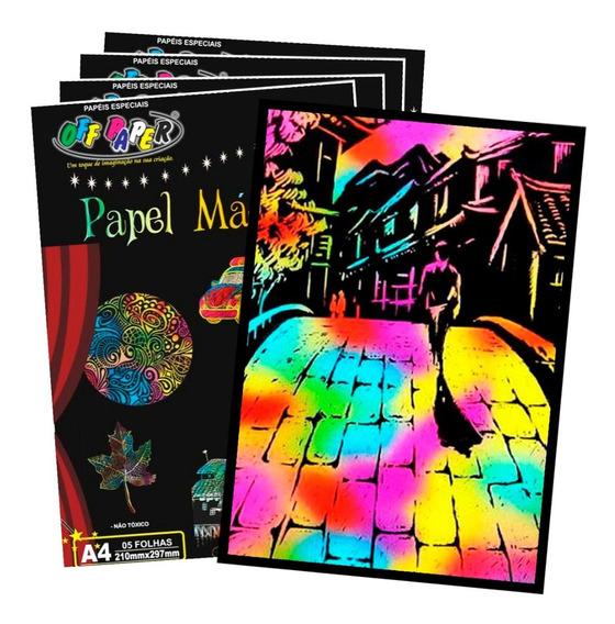 Papel Magico Multicolor A4 Com Bastão Off Paper - 4 Pacotes