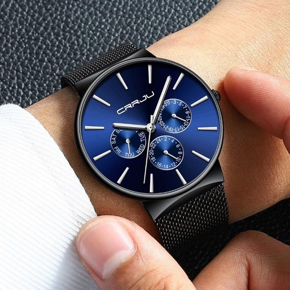 Relógio Masculino Aço Inoxidável Azul Social Analógico Top