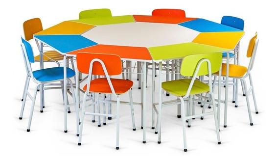 Mesa Juvenil Sextavada C/ 6 Cadeira Empilhável Escola Creche