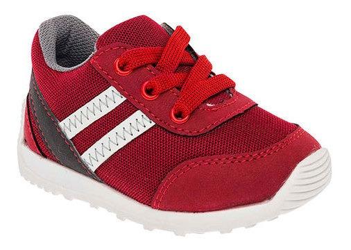Keiko Sneaker Casual Niño Rojo Textil Rayas Bto63348