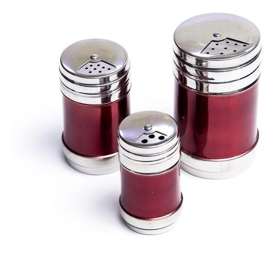 Kit 3 Porta Tempero Inox Condimentos Organizador Cozinha