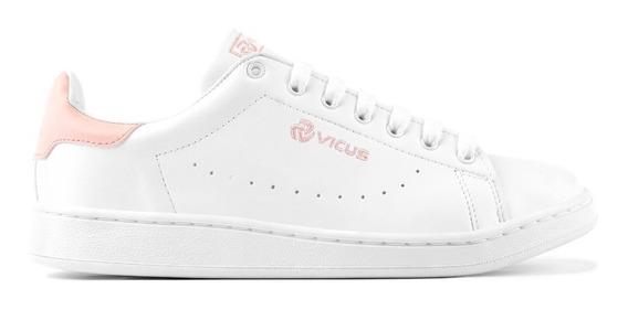 Zapatillas Vicus Furo Cuero Pu Blanco Rosa