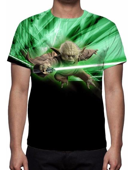 Camisa, Camiseta Star Wars Mestre Yoda E Chewbacca