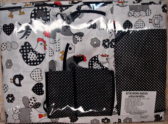 Kit Jogo Cozinha C/cortina + Toalha 6 Cadeiras 11pç Mariana