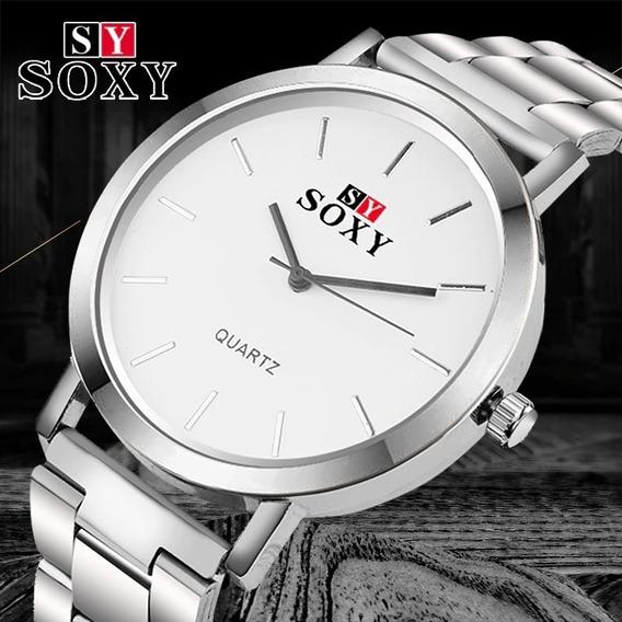 Relógio De Luxo Original Soxy Em Aço Top Linha Brinde Estojo