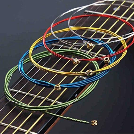 Encordoamento Rainbow Violão Guitarra Aço E Bronze Kit 6 Pcs