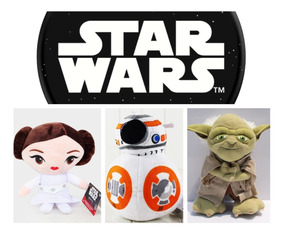 Kit 3 Pelucias Star Wars Yoda Leia E Bb8
