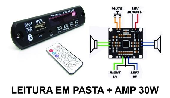 Placa Amplificador 30w + Leitor De Usb Bluetooth Lê Pasta