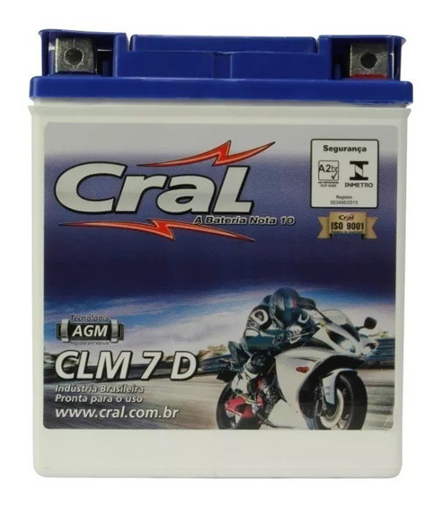 Bateria Selada Cral Moto 7 7ah Xtz 250 Lander Tenere Fazer