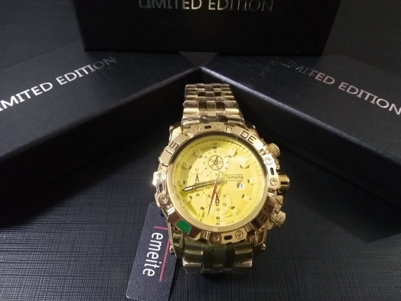 Relógio Masculino Dourado/amarelo Temeite 013