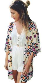 Blusa Kimono Cardigan Feminino Roupas Femininas Geometrico