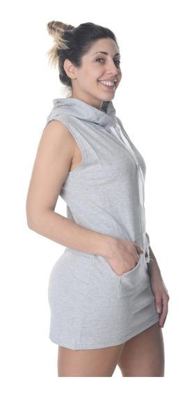 Chaleco Hoodie Buzo Algodón Vestido Capucha Entallado Mujer