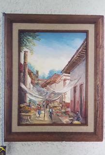 Pintur Olio Original Paisaje Michoacan Patzcuaro Marco 40x60