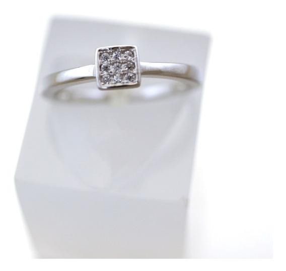 Anel Quadrado Cravejados De Pedras Brancas Prata 925 J16939