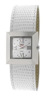 Reloj De Cuero Blanco Cuadrado Easy Wrap Silver De Tko